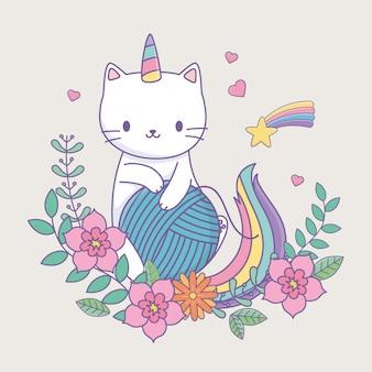 Милый котик с цветочным декором и клубком шерсти