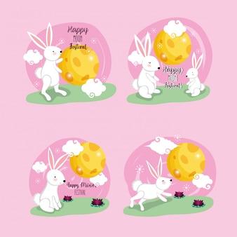 Кролики счастливой луны фестиваль векторная иллюстрация