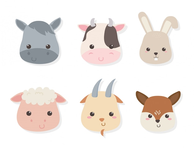 Группа милых животных фермы персонажей