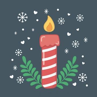 キャンドルでハッピーメリークリスマスカード