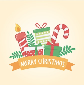 ハッピーメリークリスマスカードセットアイコンとリボン付き