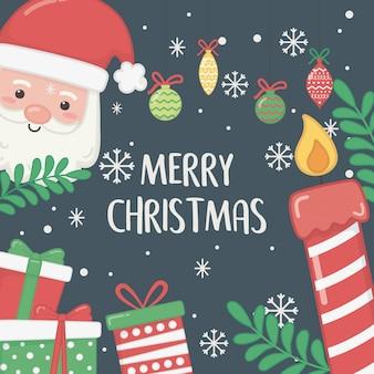 サンタクロースとギフトの幸せなメリークリスマスカード