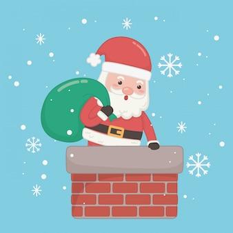 Рождественская открытка с дедом морозом и сумкой в дымоходе