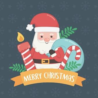 Веселая рождественская открытка с дедом морозом и сладкой тростью