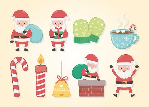 Веселая рождественская открытка с набором иконок