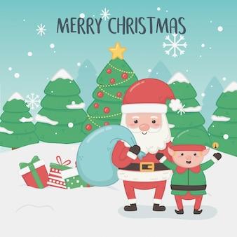 Веселая рождественская открытка с дедом морозом и эльфом