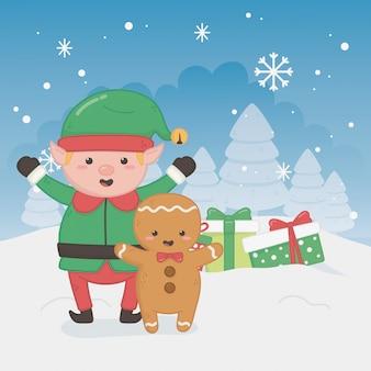 Веселая рождественская открытка с помощником эльфа