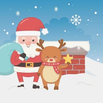 Веселая рождественская открытка с дедом морозом и оленем
