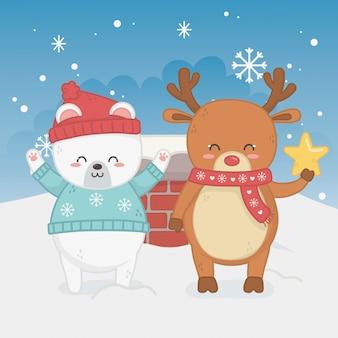 Счастливая веселая рождественская открытка с медвежонком тедди и оленем