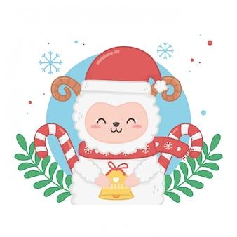 羊と幸せなメリークリスマスカード