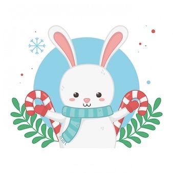 ウサギのキャラクターとハッピーメリークリスマスカード