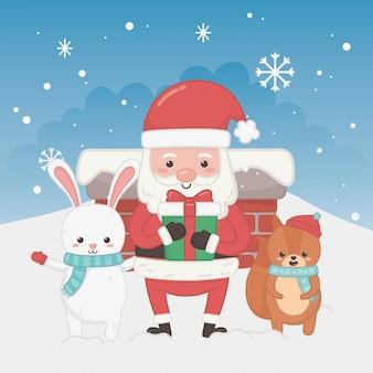 Счастливого рождества с дедом морозом и животными
