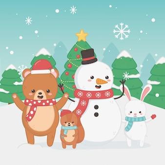 クマのテディとハッピーメリークリスマスカード