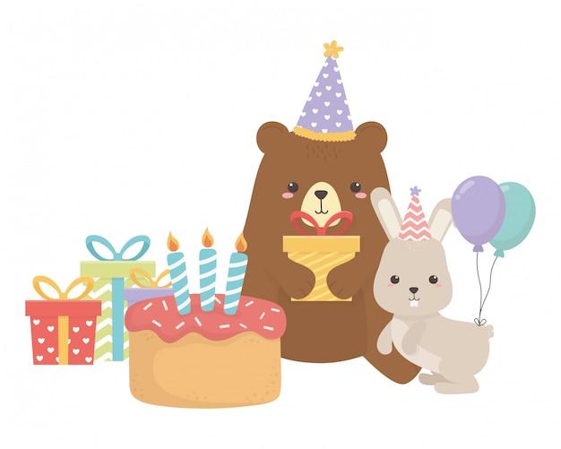 Медведь и кролик с днем рождения