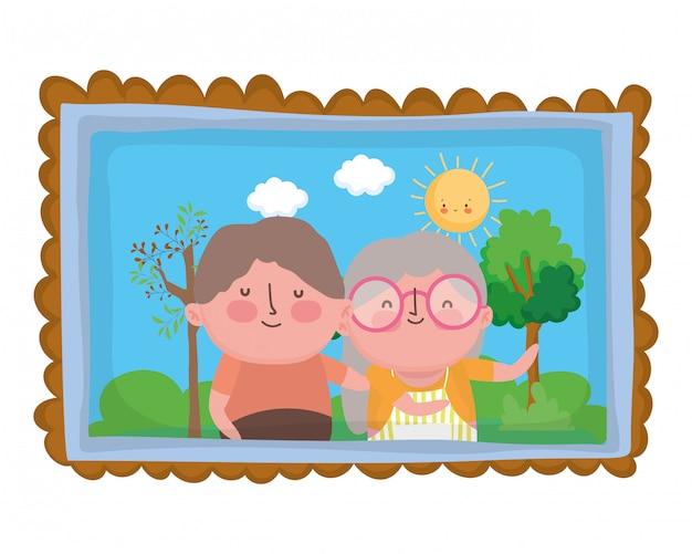 祖母と祖父の漫画のキャラクター