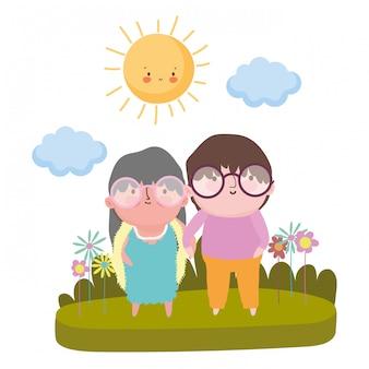 祖母と祖父の漫画