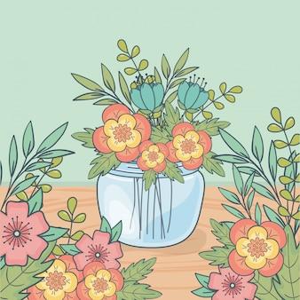 木製の床に花飾りが付いている石工の瓶
