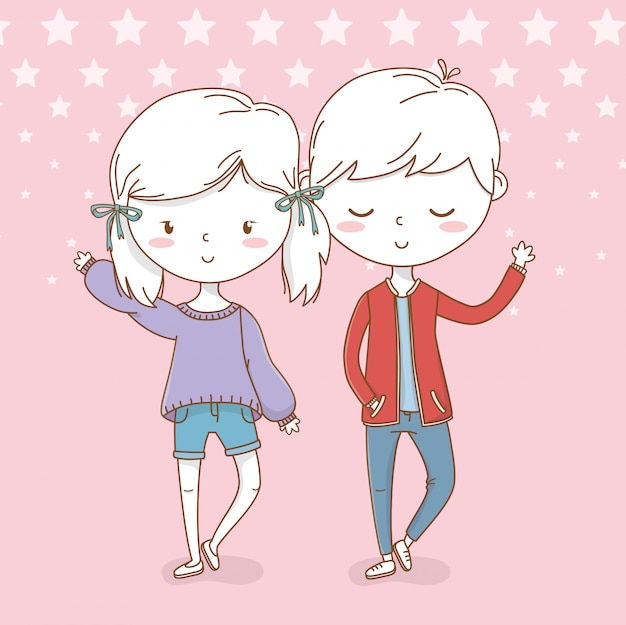 Красивые маленькие дети пара с точечный фон