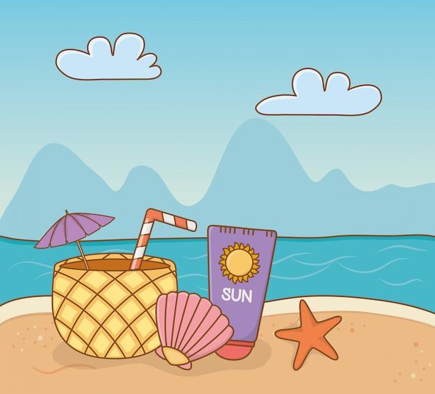 Ананасовый коктейль и набор предметов пляжной сцены