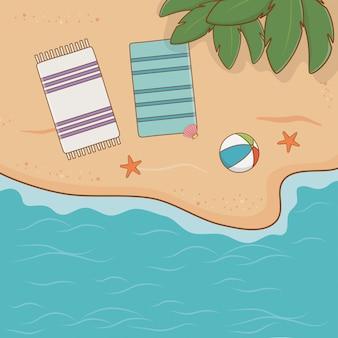 熱帯のビーチの空撮シーン