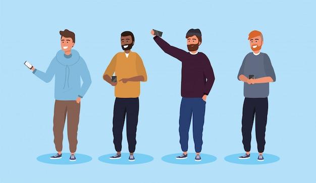男性の友達にヘアスタイルとスマートフォンのテクノロジーを設定する
