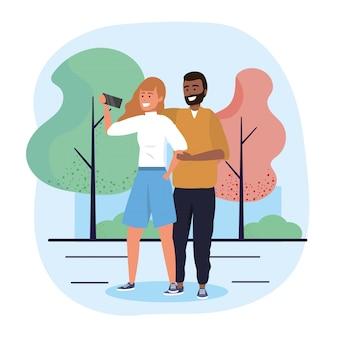 Мужчина и женщина пара с технологией селфи