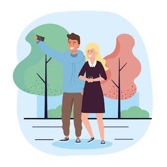 スマートフォン通信と男と女のカップル