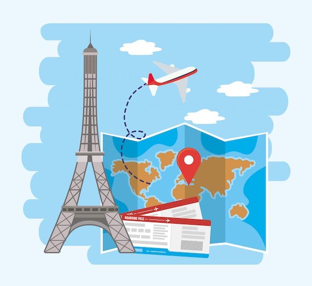 世界地図の場所とチケットを備えたエッフェル塔