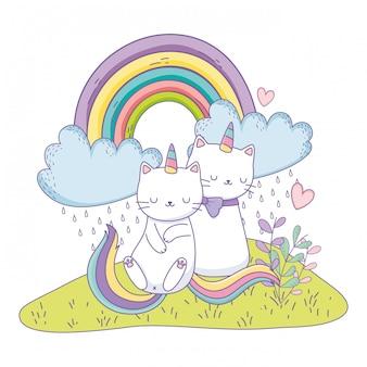 ユニコーン猫漫画カップル