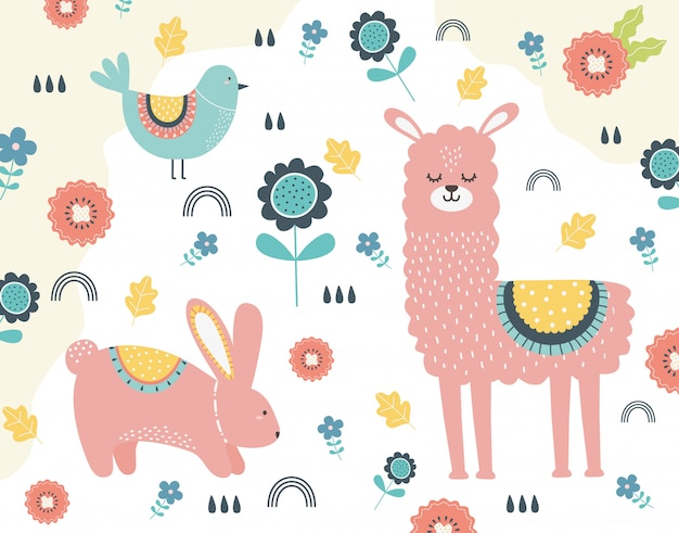 ラマとウサギの漫画
