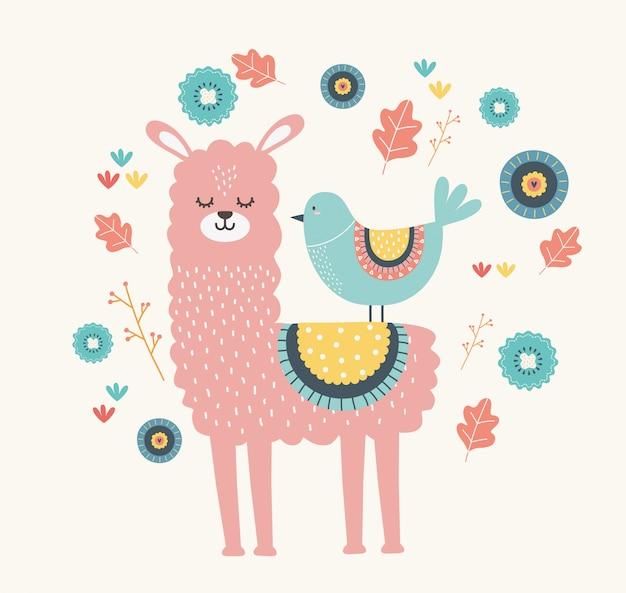 Мультфильм ламы и птицы