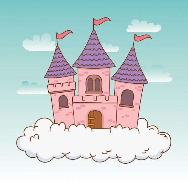 雲のシーンのおとぎ話の城