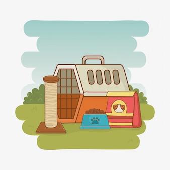 ペット輸送ボックスと食品
