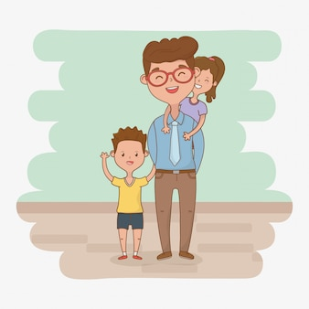 父と子供たちのキャラクター