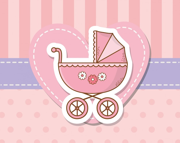 ピンクのカートとベビーシャワーカード