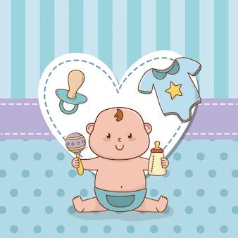 Открытка на рождение ребенка с маленьким мальчиком