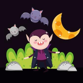 ドラキュラコウモリの月の夜のハロウィーンを数える