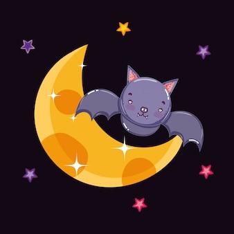 Симпатичная летучая мышь ночь луна хэллоуин