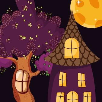 Жуткий дом дерево луна хэллоуин
