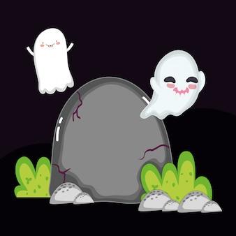 ハロウィーンの衣装で飛んで幽霊墓石ハロウィーン子供