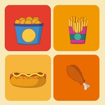 Набор значков быстрого питания на площадях