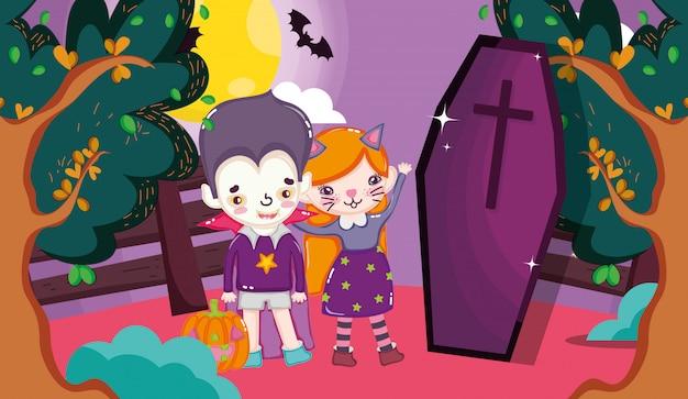 ハロウィーンの衣装を持つ子供