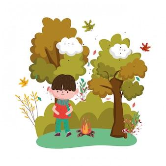 かわいい子供こんにちは秋