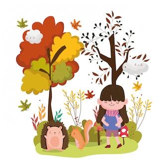 かわいい女の子動物こんにちは秋