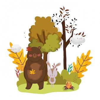 かわいい動物の葉こんにちは秋