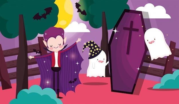 Дети играют в кошелек или жизнь в хэллоуин