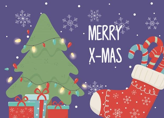 ツリーライトのお祝いハッピークリスマス