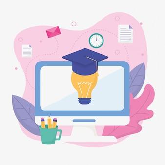 コンピューターのアイデア卒業学校教育オンライン