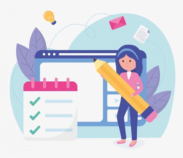 学生の女の子の学校教育オンライン