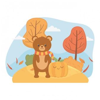 Милая листва животных привет осень